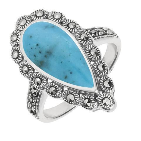 Silver Turquoise Marcasite Pear Centre Beaded Edge Ring