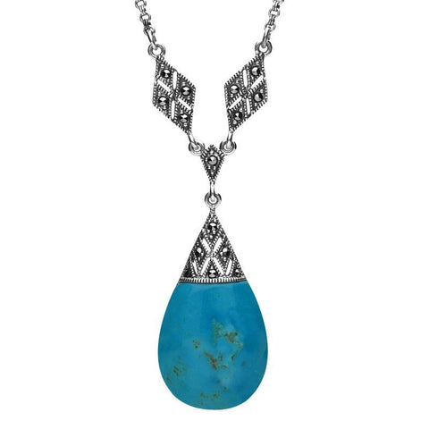 Silver Turquoise Marcasite Pear Drop Rhombus Link Necklace