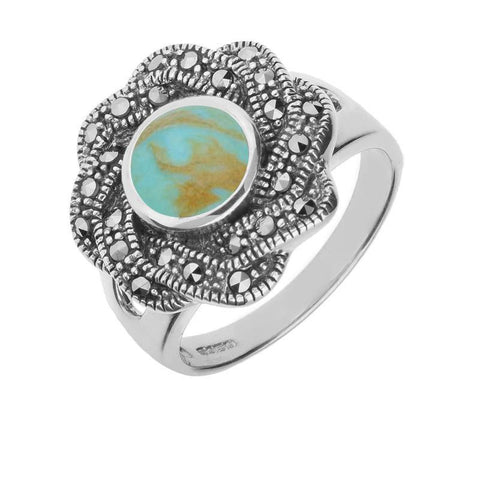 Silver Turquoise Marcasite Ribbon Edge Ring