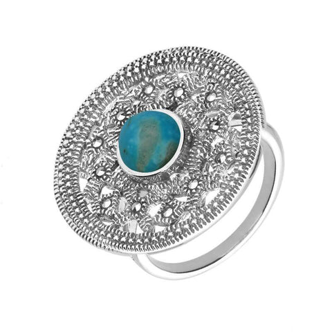 Silver Turquoise Marcasite Shield Ring