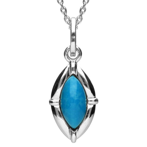 Silver Turquoise Petite Marquise Pendant Necklace
