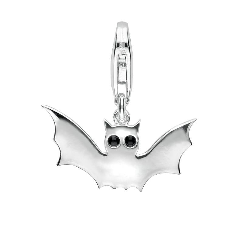 Sterling Silver Whitby Jet Bat Charm