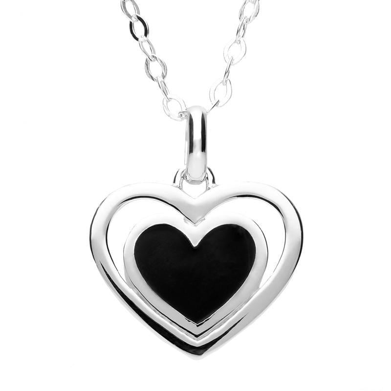 Silver Whitby Jet Beaded Heart in Heart Pendant Necklace