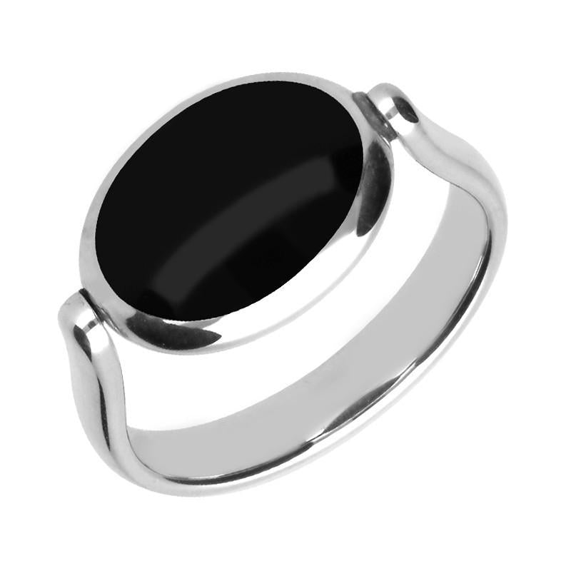 Silver Whitby Jet Blue John Double Sided Stone Flip Ring