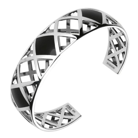 Silver Whitby Jet Curved Geometric Bangle