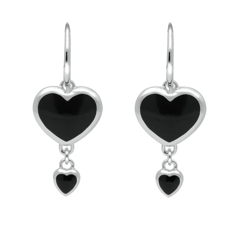 Silver Whitby Jet Double Heart Hook Earrings