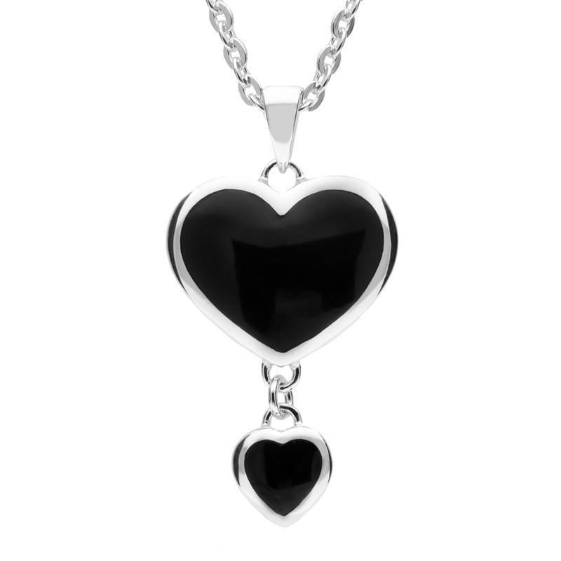 Silver Whitby Jet Double Heart Pendant Necklace
