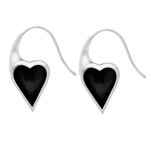 Silver Whitby Jet Heart Drop Earrings