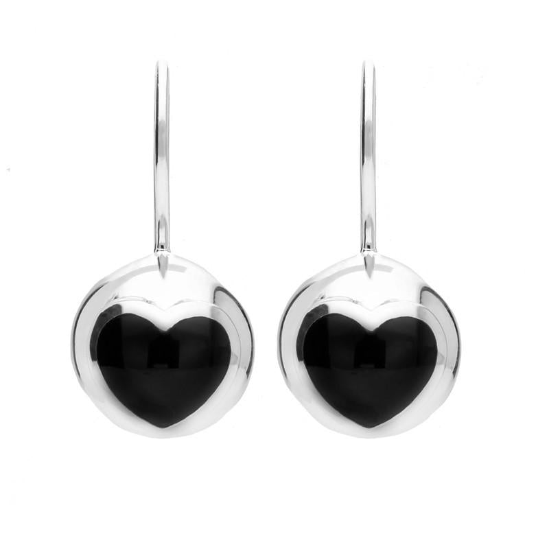 Silver Whitby Jet Heart Sphere Hook Earrings