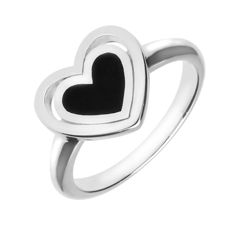 Silver Whitby Jet Heart in Heart Ring