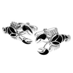 Sterling Silver Whitby Jet Lobster Cufflinks