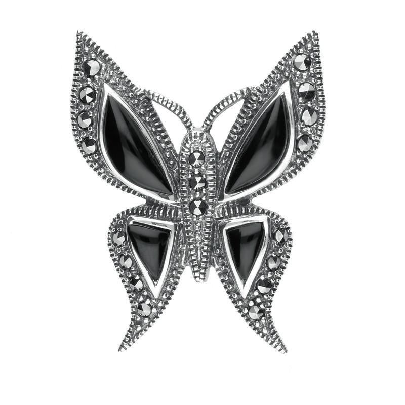 Silver Whitby Jet Marcasite Butterfly Brooch