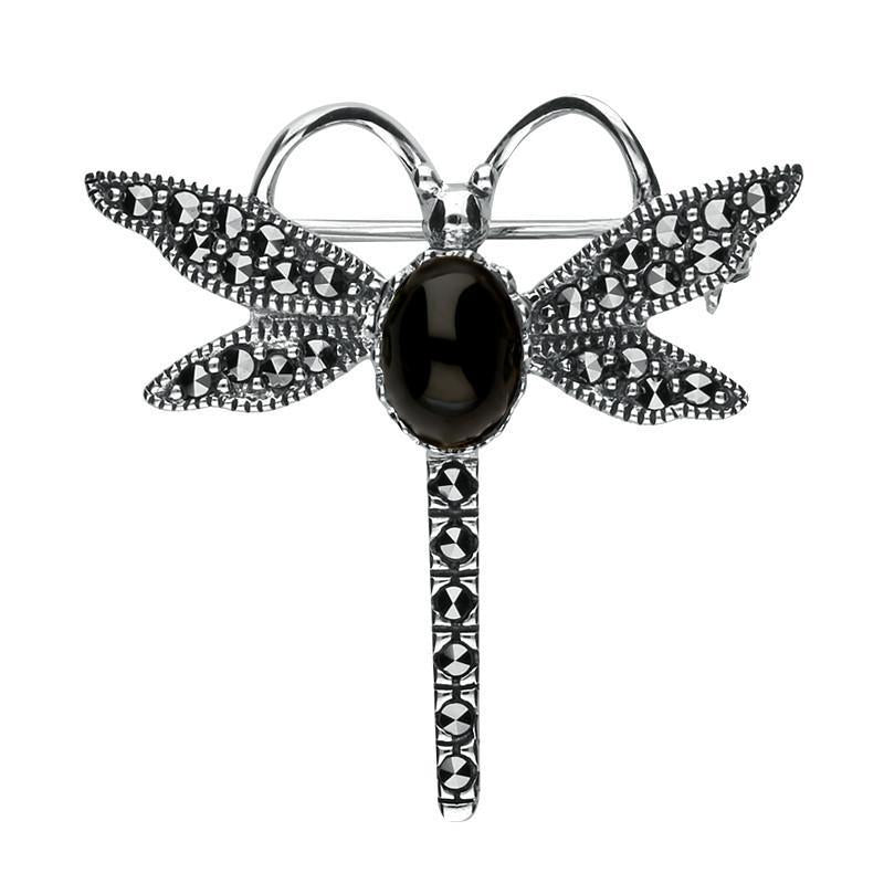Sterling Silver Whitby Jet Marcasite Dragonfly Brooch