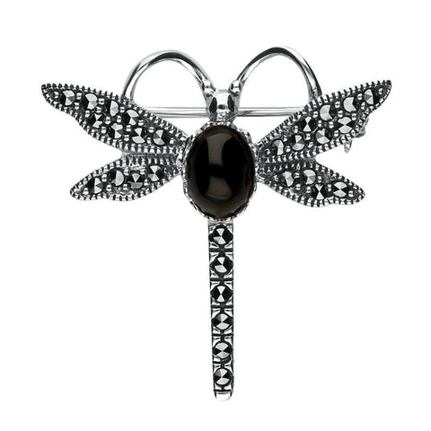 Silver Whitby Jet Marcasite Dragonfly Brooch