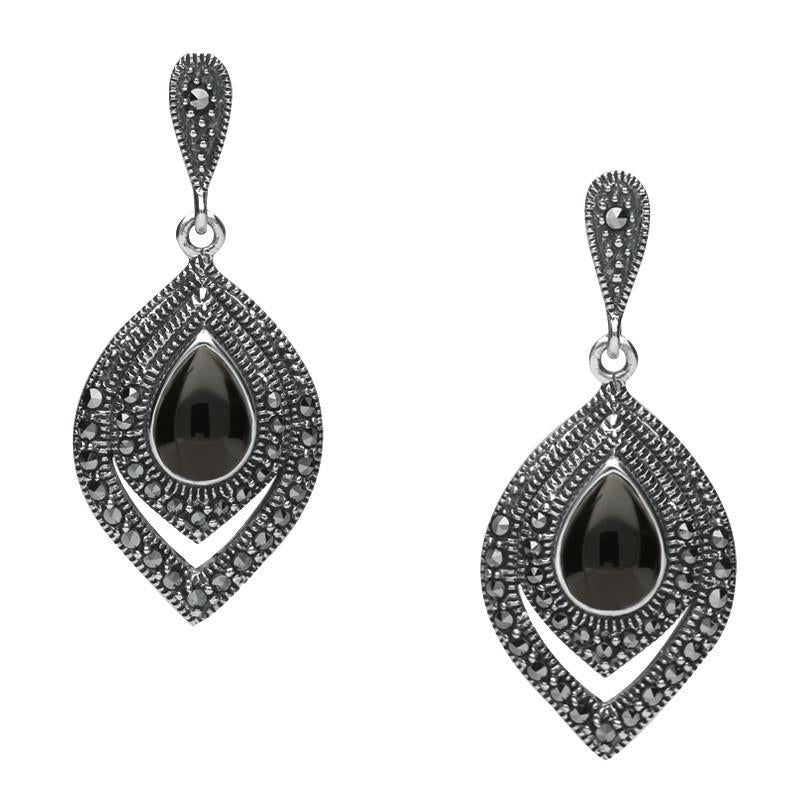 Silver Whitby Jet Marcasite Fancy Pear Stud Earrings