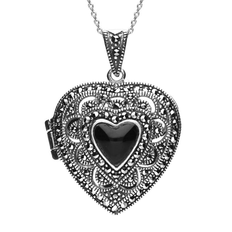 Silver Whitby Jet Marcasite Large Heart Locket Necklace
