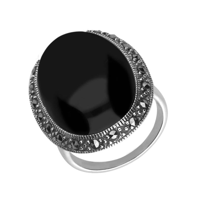 Silver Whitby Jet Marcasite Large Oval Ring