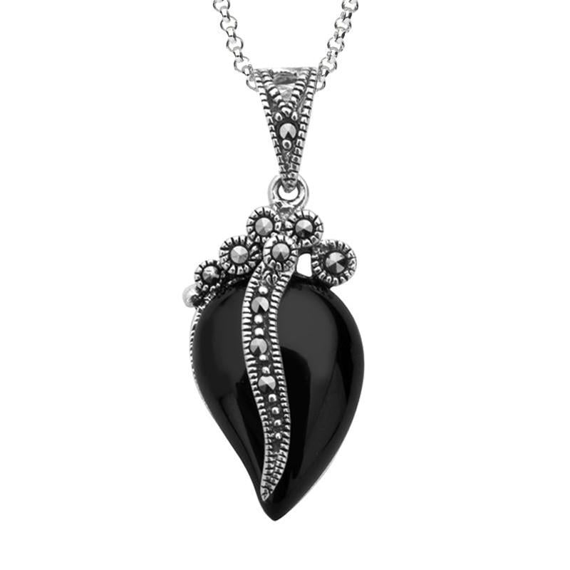 Silver Whitby Jet Marcasite Wave Bail Pear Pendant Necklace