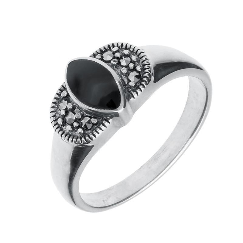 Silver Whitby Jet Marcasite Marquise Ring
