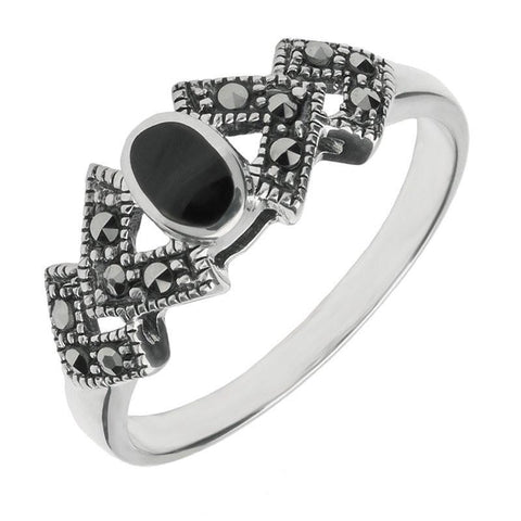 Silver Whitby Jet Marcasite Oval Triangle Ring