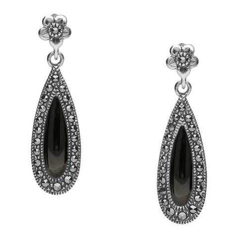 Silver Whitby Jet Marcasite Pear Drop Stud Earrings
