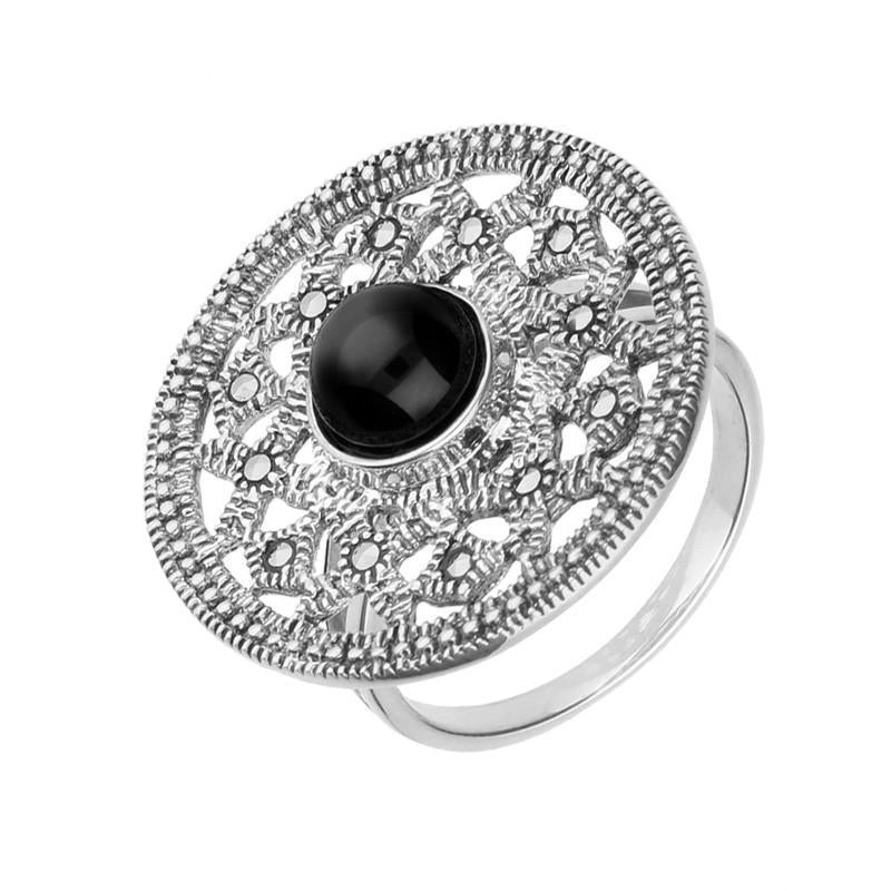 Silver Whitby Jet Marcasite Shield Ring
