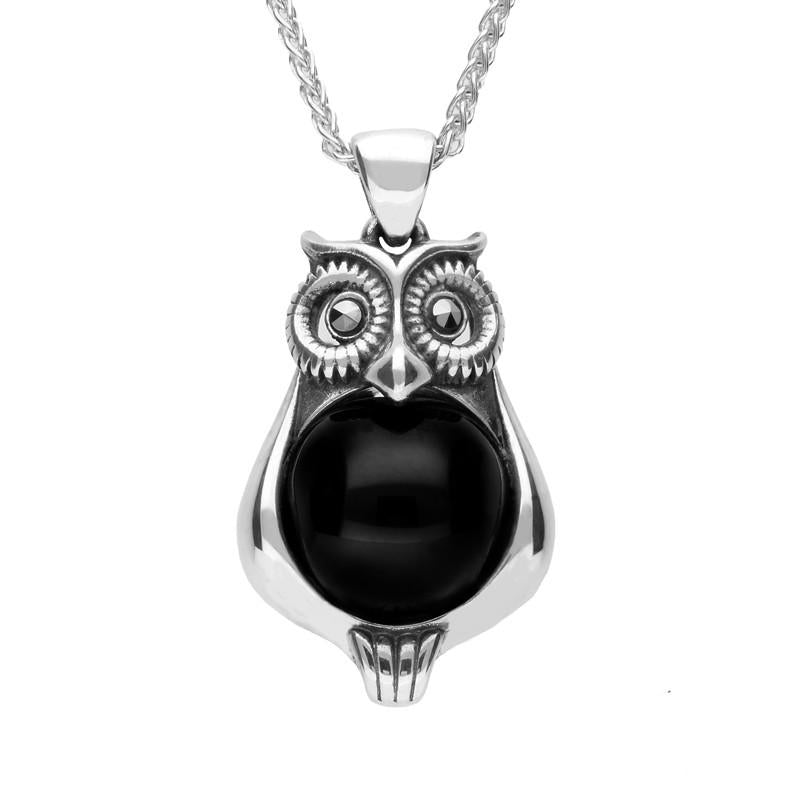 Silver Whitby Jet Marcasite Small Owl Necklace