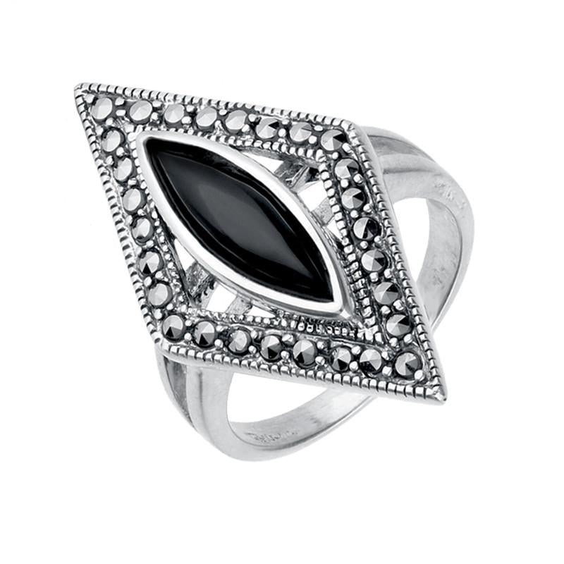 Silver Whitby Jet Marcasite Triangle Ring