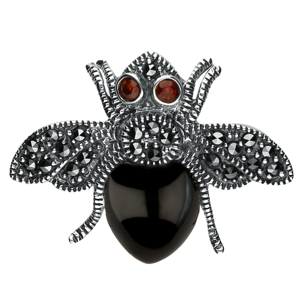 Silver Whitby Jet Marcasite Wings Garnet Bee Brooch