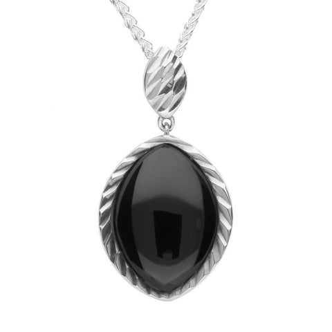Silver Whitby Jet Marquise Diamond Cut Pendant Necklace