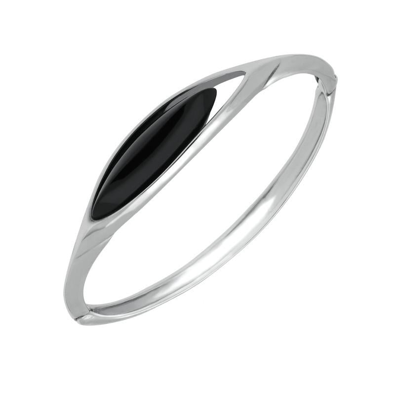 Silver Whitby Jet Marquise Offset Bangle