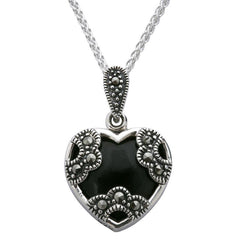 Sterling Silver Whitby Jet Necklace Heart Marcasite Necklace