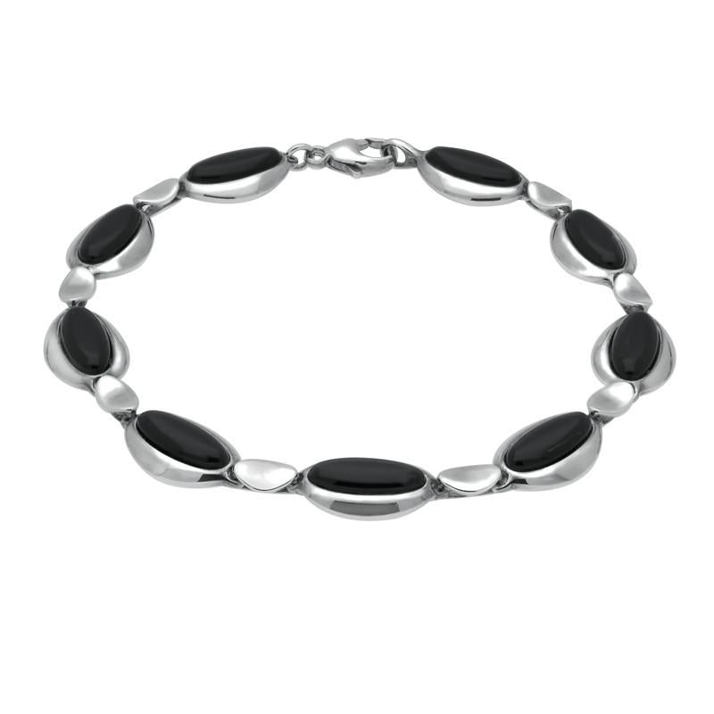 Silver Whitby Jet Nine Stone Long Oval Bracelet