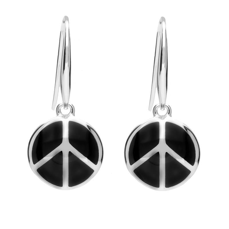 Silver Whitby Jet Peace Symbol Hook Earrings