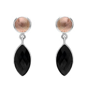 Silver Whitby Jet Pink Tourmaline Faceted Marquise and Round Unique Drop Earrings EUNQ0000851