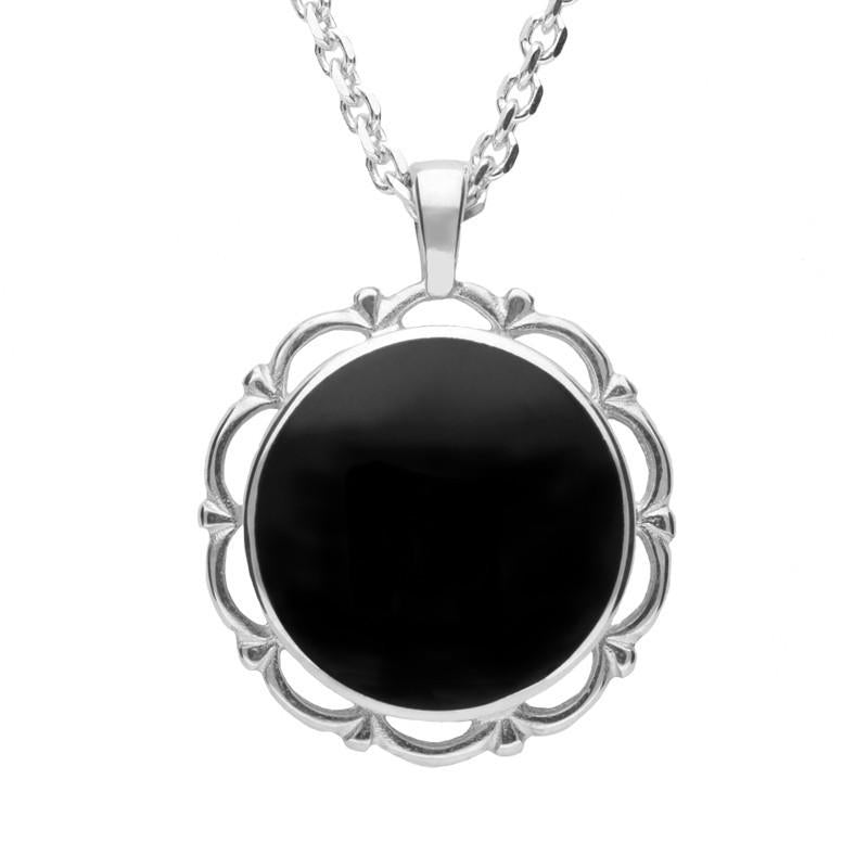 Silver Whitby Jet Round Frill Pendant Necklace