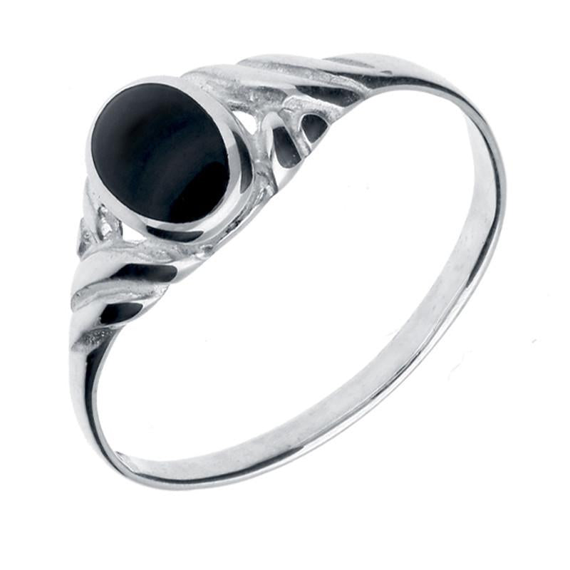 Silver Whitby Jet Small Carved Scroll Ring