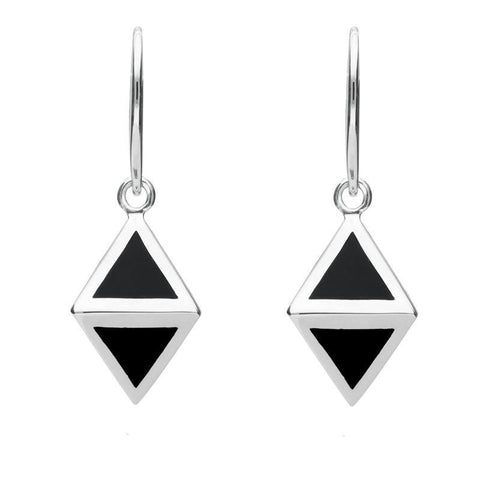 Silver Whitby Jet Triangular Prism Hook Earrings