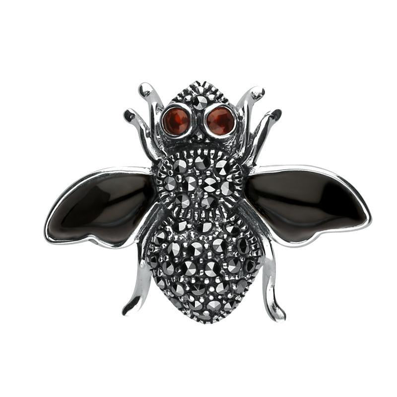 Silver Whitby Jet Wings Marcasite Garnet Bee Brooch