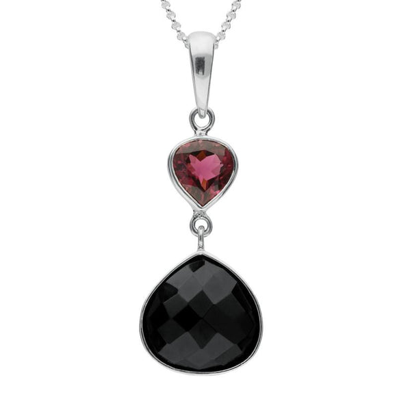 Silver Whitby Jet and Pink Tourmaline Faceted Pear Necklace PUNQ0004752