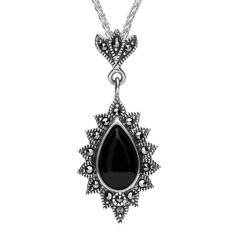 Silver Whitby Jet Marcasite Beaded Edge Pear Pendant Necklace