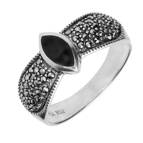 Silver Whitby Jet Marcasite Marquise Beaded Shoulder Ring
