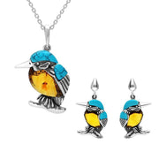 STERLING SILVER AMBER TURQUOISE MEDIUM KINGFISHER TWO PIECE SET