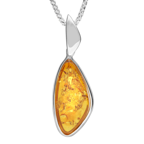 Sterling Silver Amber Abstract Pear Necklace