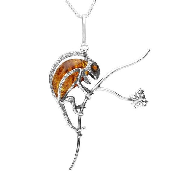 Sterling Silver Amber Chameleon On Branch Necklace P3155
