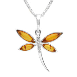 Sterling Silver Amber Cubic Zirconia Dragonfly Necklace P3149