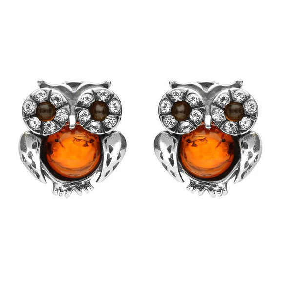Sterling Silver Amber Cubic Zirconia Small Owl Stud Earrings E2330