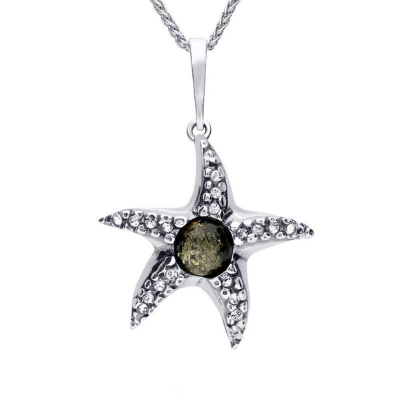 Sterling Silver Amber Cubic Zirconia Starfish Necklace P3171