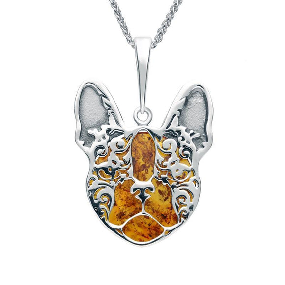 Sterling Silver Amber French Bulldog Necklace P3170