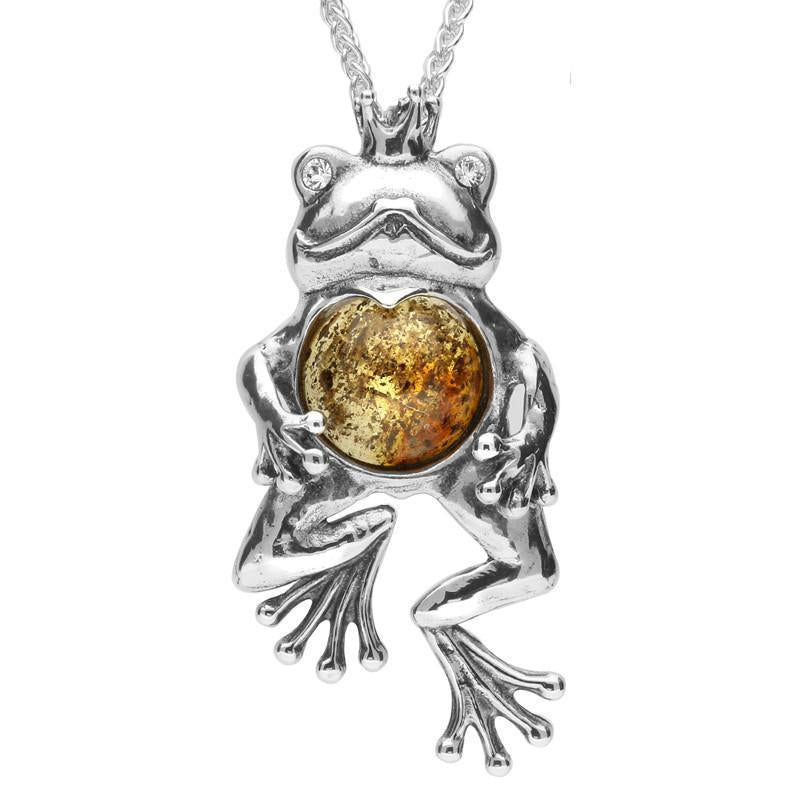 Sterling Silver Amber Frog With Crown Necklace